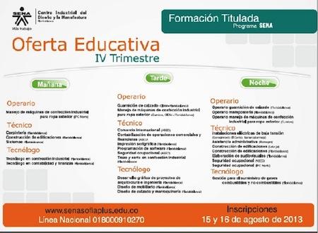Oferta Educativa SENA Para el IV Trimestre del 2015